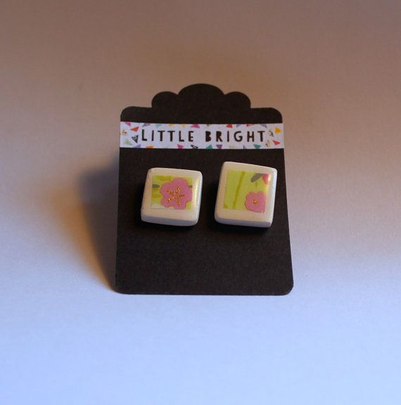 Square Ceramic earring Studs
