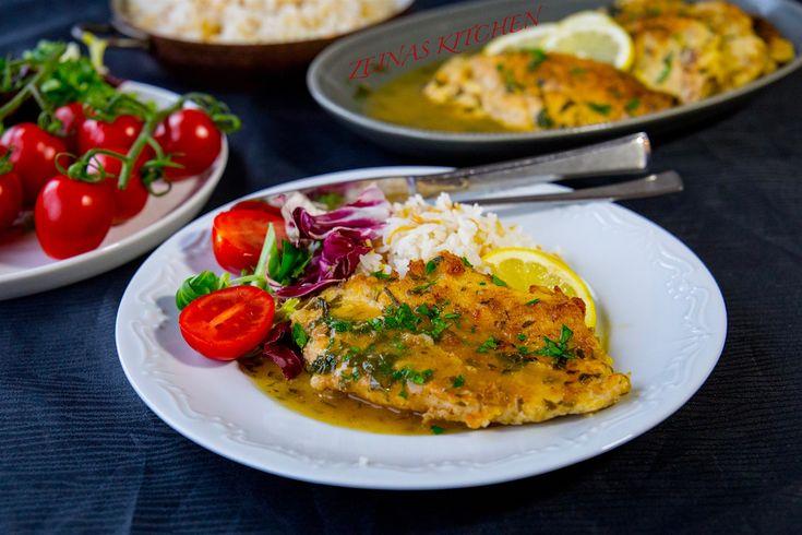 Kyckling francese- Panerad kycklingfilé i citronsås - ZEINAS KITCHEN