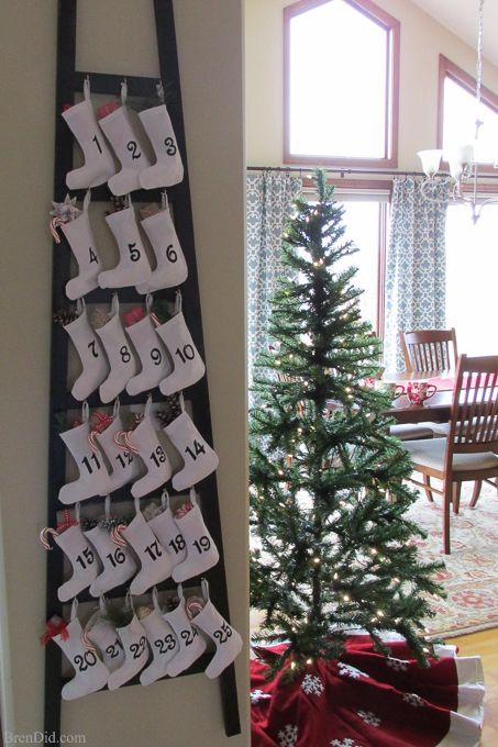 Pinning to make for Christmas! Easy and Affordable Christmas Decorations: PB inspired Wooden Advent Calendar with Stockings – Make a Pottery Barn Inspired Wooden Advent Calendar Ladder with Canvas Stockings f for $34. That's 83% off of the retail price of $199. Free printable pattern, Silhouette cut file and easy directions at BrenDid.com. http://brendid.com/christmas-decorations-pb-inspired-wooden-advent-calendar-stockings/