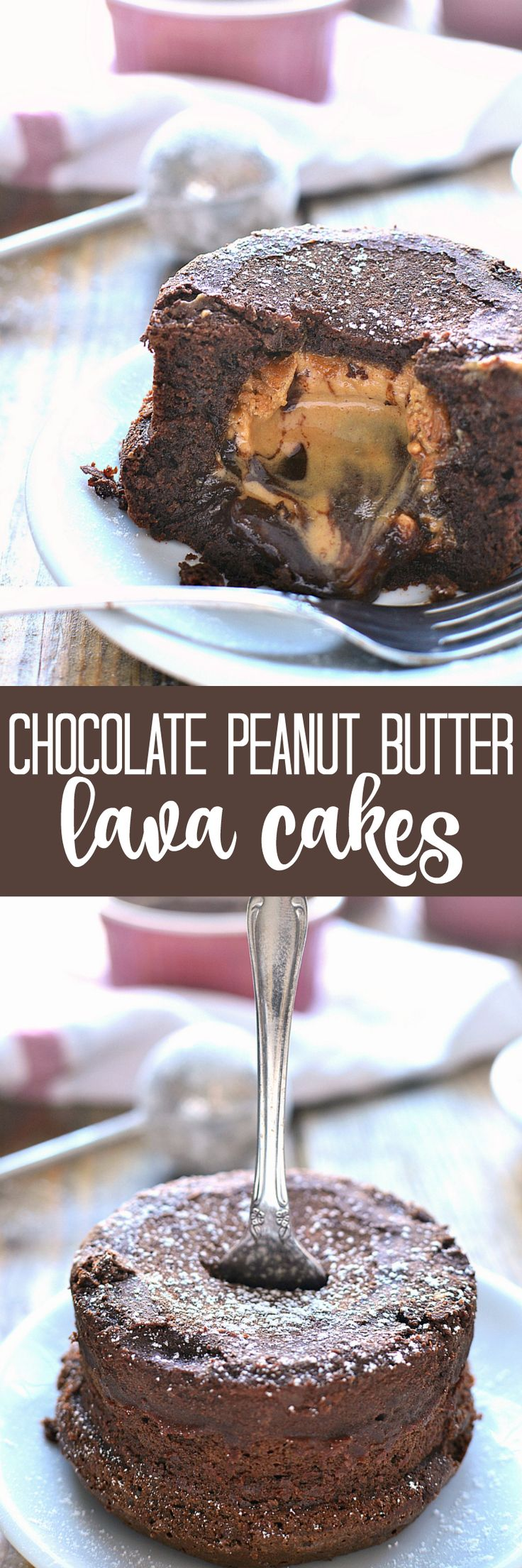 Chocolate Peanut Butter Lava Cakes combine two classic flavors in one deliciously ooey gooey dessert. Perfect for Valentine's Day or any special occasion!: