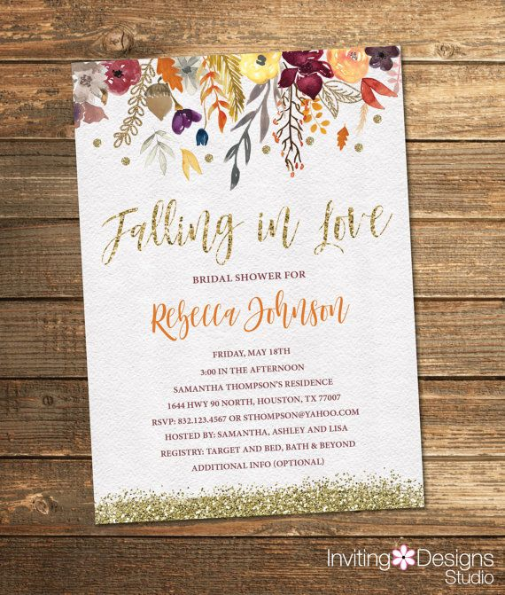 Fall Bridal Shower Invitation, Autumn Bridal Shower, Flowers, Watercolor, Floral, Gold Glitter, Vintage (PRINTABLE FILE)