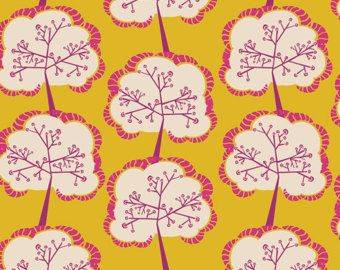 Aglow Sapling Mango by Frances Newcombe for Art Gallery 1/2 Yard - Utopia Collection - Yellow and Fuchsia - Modern - Fabric Tree Fabric