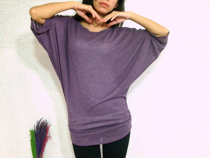 Sexy Dark Purple Women Blouse - Oversized Tee / Batwing Tee / Ladies Poncho T shirt - Casual Women Comfy Tee / large medium small. $33.00, via Etsy.