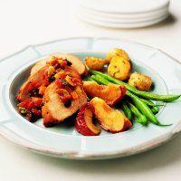 Côtelettes de porc aux pommes et aux figues - Châtelaine