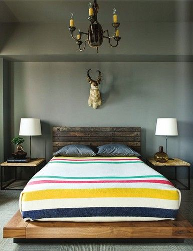 Hudson Bay Blanket, love the wall color: Wall Colors, Rustic Bedrooms, Headboards, Animal Head, Beds Frames, Platform Beds, Bays Blankets, House, Hudson Bays