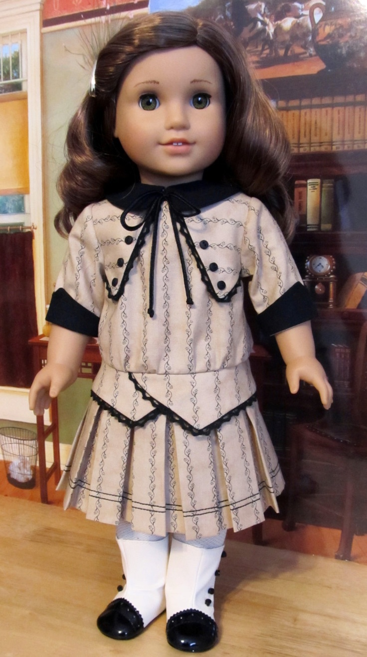 """1914 Pleated Frock - Made to Fit 18"""" American Girl Doll Rebecca, An Original KeepersDollyDuds design"""