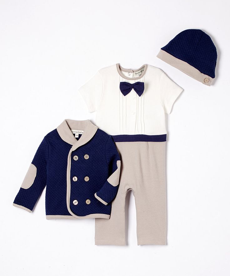 Look at this Harry & Violet Gray & Navy Playsuit Set - Infant on #zulily today!