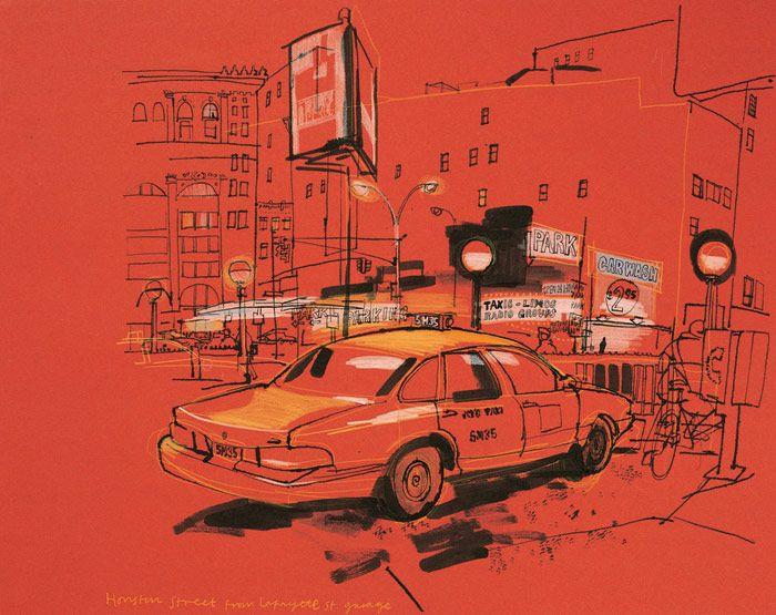 lucinda rogers drawing ink watercolour cityscape street scene yellow taxi cab parking lot houston lafayette soho new york garage night