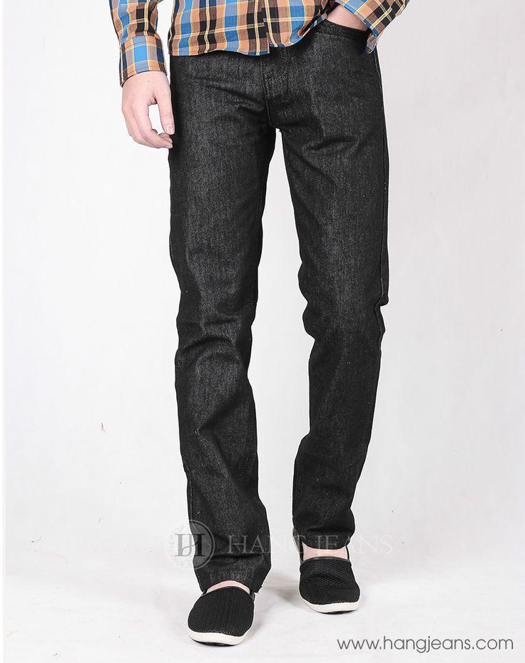 Hằng Jeans - Quần jeans nam ống đứng đen trơn PG903