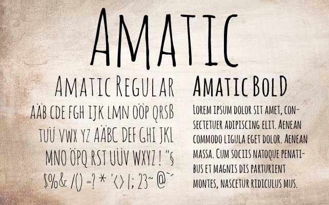 """Niech was pozory nie mylą, Amatic tylko wydaje się niechlujny i amatorski, w rzeczywistości to dopracowany i przemyślany font """"ręczny"""". Do tego mamy polskie znaki i licencję SIL Open Font."""
