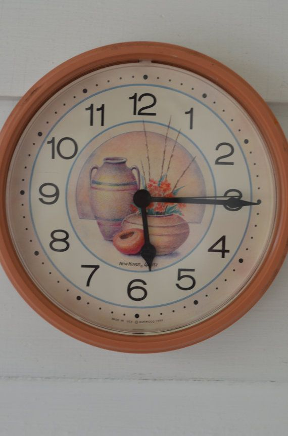 NEW HAVEN VINTAGE Kitchen Clock Peach Coral By Oldgreenlion