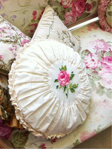 Sew idea: Shabby Chic Cushions Floral, white, ivory, pink by Tatyana Popechiteleva