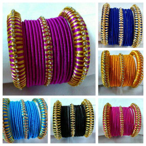 Silk Thread Bangles - Handmade Jewellery - Silk Thread woven Bangles - Available…