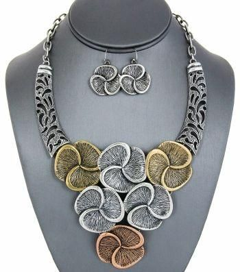 Tri-Tone Floral Bib Statement Necklace - Zabba Designs African Clothing Store
