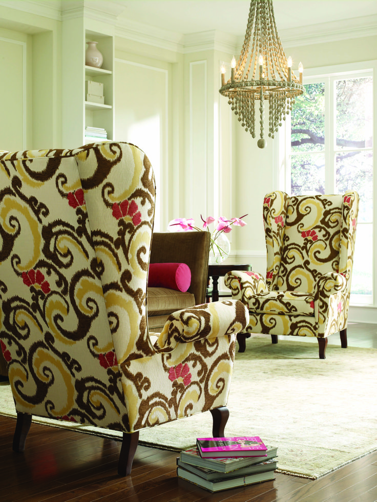 .love these!: Modern Chairs, Living Rooms, Colors, Interiors Design, Houses Ideas, Patterns Chairs, Fabrics Chairs, Furniture, Wingback Chairs