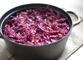 Braised Red Cabbage with Bacon Recipe Made the following modifications: Less bacon low sodium bacon (3 strips), shallots vs onions, 1 tbsp coconut sugar vs brown sugar, added minced garlic and two caps of apple cider vinegar.