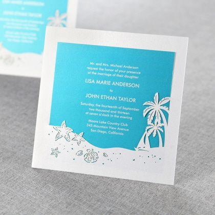 Wedding Invitations   Blue   Ocean Frame II Laser Cut   B Wedding  Invitations