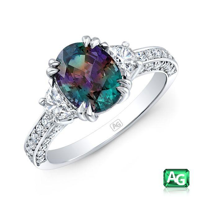 Alexandrite, Diamond and Platinum Ring
