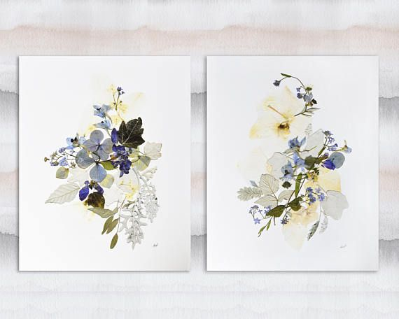 Pressed flower prints Set of 2 prints Contemporary art Dry #pressedflowers #botanical #flowers #driedflowers #leaves #plantart #floral #blueflowers