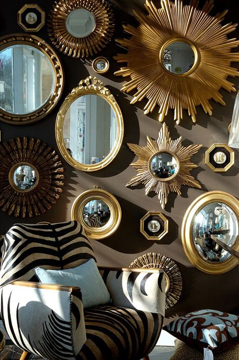 mirror mirror on the wallDecor, Blank Wall, Mirrors Wall, Sunburst Mirror, Living Room, Gold Mirrors, Gallery Wall, Dark Wall, Mirrors Mirrors