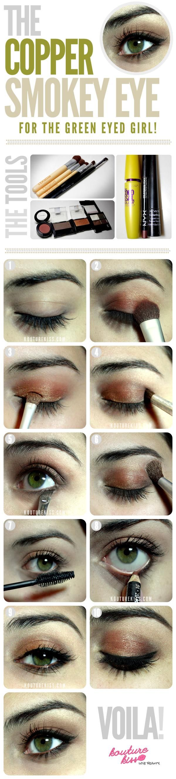 Makeup : DIY Copper Smokey Eye For The Green Eyed Girl Makeup tips and ideas