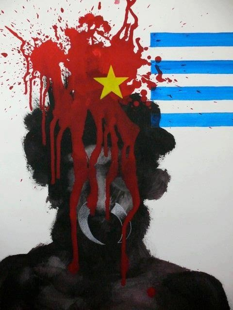 Free West #Papua Campaign - This is a painting done by a Swedish artist Andre Huck, symbolising the ongoing genocide of the West Papuan people. It was created earlier this year to coincide with a series of Free West Papua related music events & talks held in Sweden earlier this year.