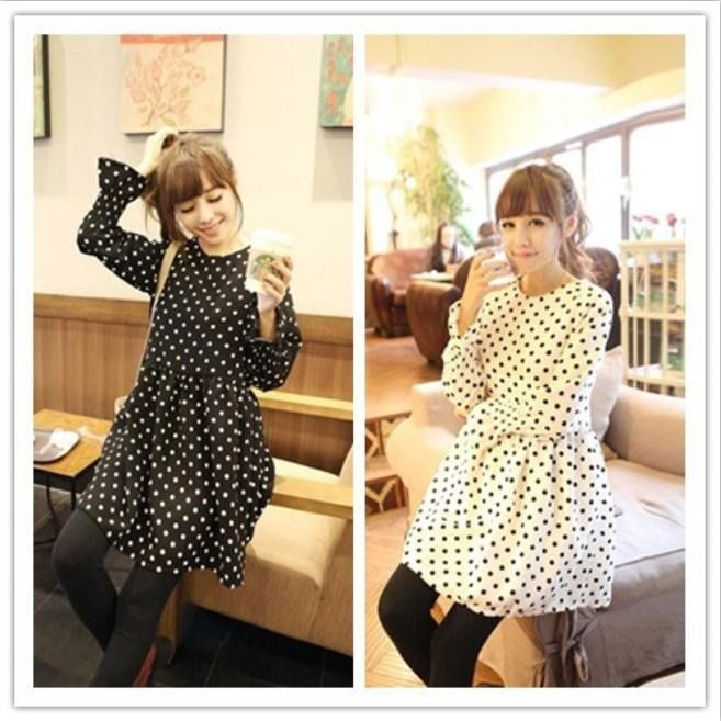 Women's New Fashion Korean Slim Retro Wave Point Chiffion Cute A line Dress