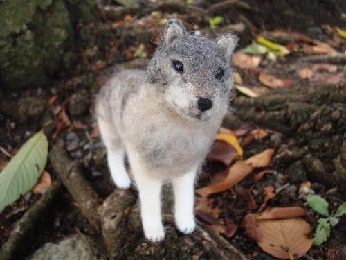 羊毛フェルトで出来たシンリンオオカミの人形です。染色されていないそのままの色の羊毛を使い、色を重ねて、野性的な灰色の色合いを出しました。目はオリーブ色のグラス...|ハンドメイド、手作り、手仕事品の通販・販売・購入ならCreema。