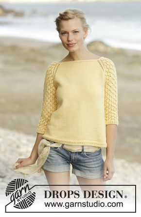 Honey Blossom jumper worked top down with lace pattern on sleeves by DROPS  Design Free Knitting