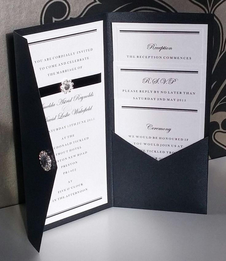 Formal | Black Tie | Diamante | Pocketfold | Wedding Invitation  | eBay