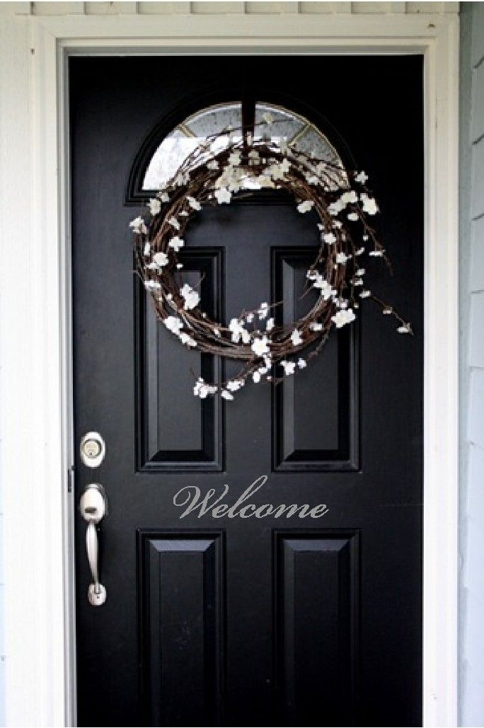 white welcome decal for front door | Welcome Front Door Entry Sign Decal Sticker in by VisionsInVinyl