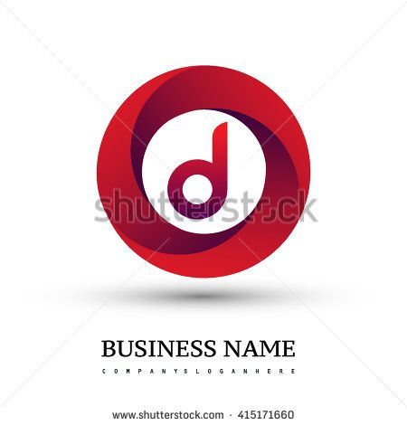 D letter logo in the red circle. Vector design template elements for your application or company identity. - stock vector