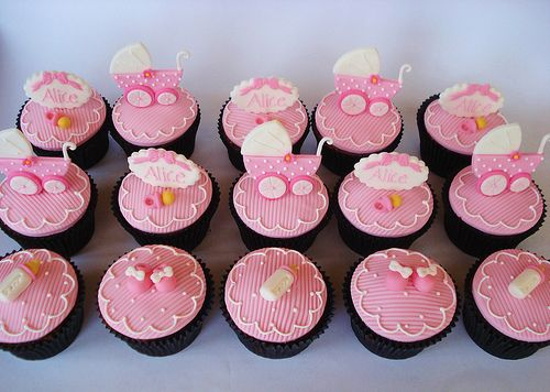 Pink Baby Buggy Shower Cupcakes