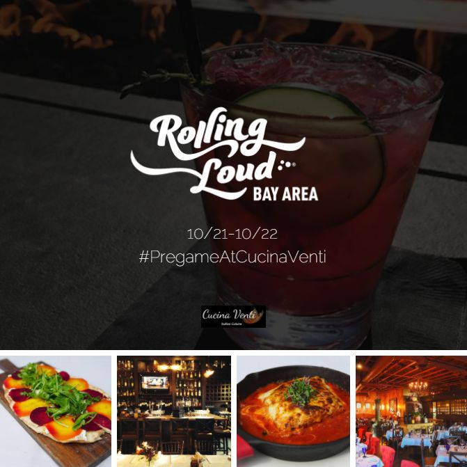 Grab your rezzy for lunch/dinner/drinks before you hit the Rolling Loud Fest at Shoreline Amphitheatre this weekend! 🍝🍸🎵 #PregameAtCucinaVenti https://www.opentable.com/r/cucina-venti-mountain-view