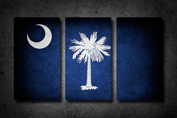 South Carolina Metal Flag Triptych by Austinspire on Etsy, $89.00