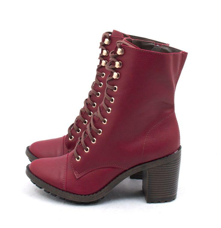Ana Mello Calçados Femininos - Coturno Salto Grosso Vermelho - Botas