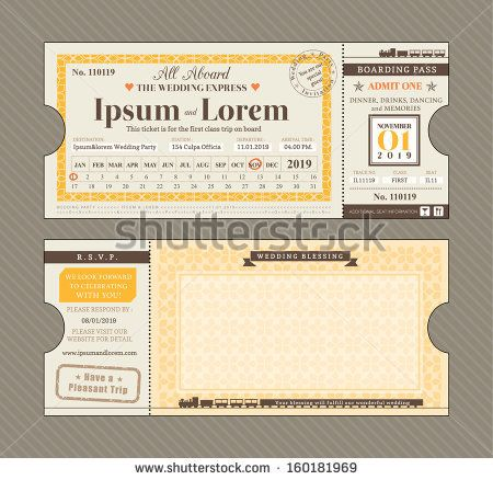 Vector Train Ticket Wedding Invitation Design Template by kraphix, via Shutterstock