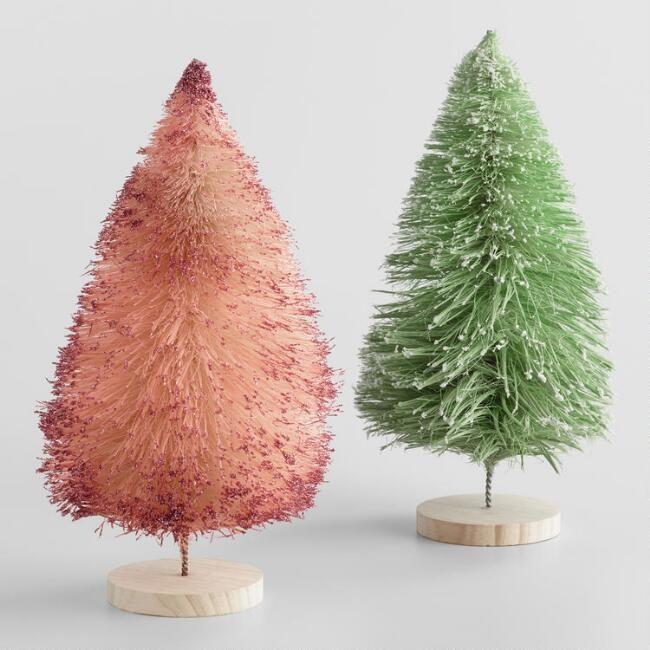 Teardrop Bottlebrush Trees Set Of 2 Diy Christmas Tree Ornaments Diy Xmas Ornaments Bottle Brush Christmas Trees