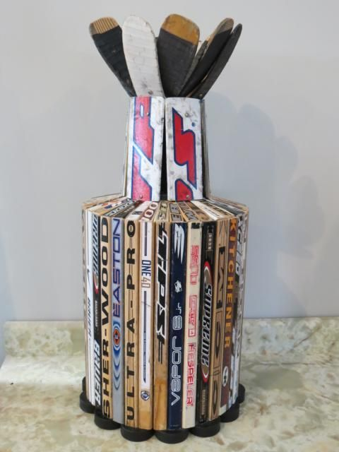 A fans version of the #StanleyCup, made of hockey sticks!
