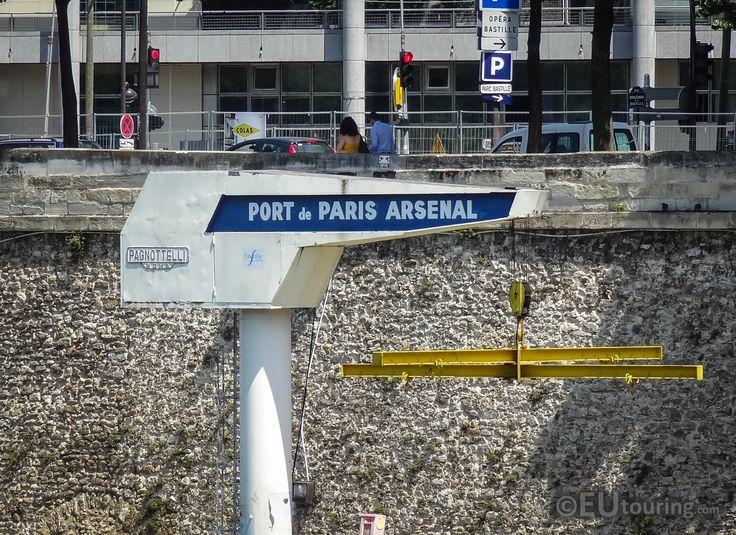 A boat crane of Port de Paris Arsenal, also known as Port de l'arsenal.  More photos at www.eutouring.com/images_port_de_l_arsenal.html