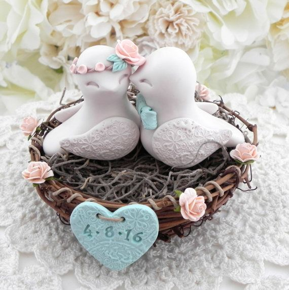 Rustic Love Bird Wedding Cake Topper  Peach Beige and by LavaGifts