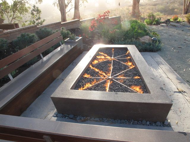 Fire Pit, Craftsman Outdoor Patio Design Large Rectangular Grey Stamped Concrete Fire Pits Black Lava Rocks Propane Star Pipe Burner: Awesome Design Concrete Fire Pits