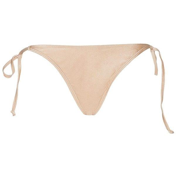 Bali Bikini Bottom ❤ liked on Polyvore featuring swimwear, bikinis, bikini bottoms, bottom bikini, gold bikini, beach wear, gold bikini bottoms and beach bikini
