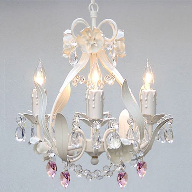 Beautiful Mini 4 Light White Fl Crystal Chandelier Lighting Lights Lamps New