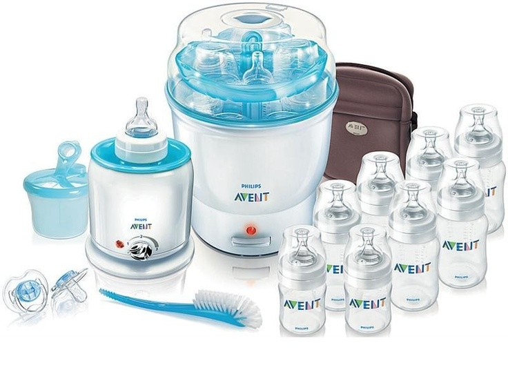 Starter Set - contains: 1x AVENT Electric Steam Steriliser 1x AVENT Electric Bottle Baby Food Warmer 2x AVENT PP Feeding Bottle 125ml 6x AVENT PP Feeding Bottle 260ml 1x AVENT Thermabag Nylon - Brown 1x AVENT Powdered Milk Dispenser 1x AVENT Bottle Teat Brush 2x AVENT Newborn Soothers Again, depending on decisions made...