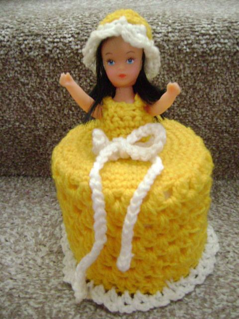 Hand Knitted Gold White Doll Toilet Roll Cover In Home