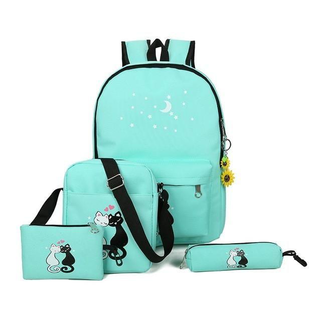 KASHIDINUO Brand 5 Pcs/set Women Backpacks Cute Cat School Bags For Teenage Girls Printing Canvas Backpacks Ladies Shoulder Bags