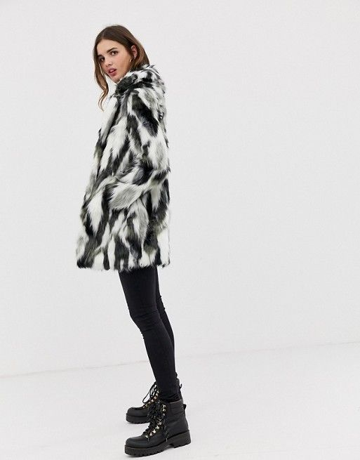 0420891ac QED London abstract animal faux fur coat | What I like | Fur, Fur ...