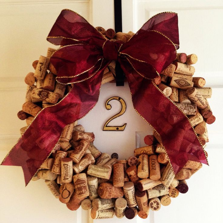 Wine cork wreath for the holidays made by yours truly