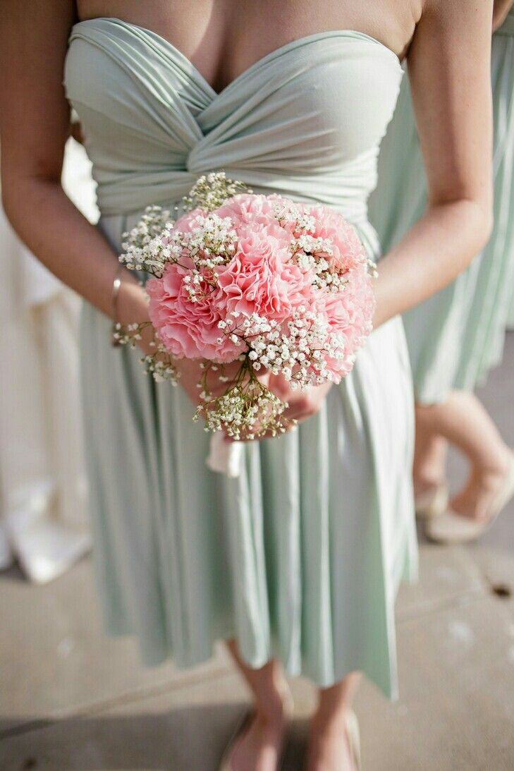 Sweet Bridesmaid's Bouquet: Pink Carnations + White Gypsophila
